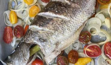 דג ברמונדי ישראלי על מצע ירקות